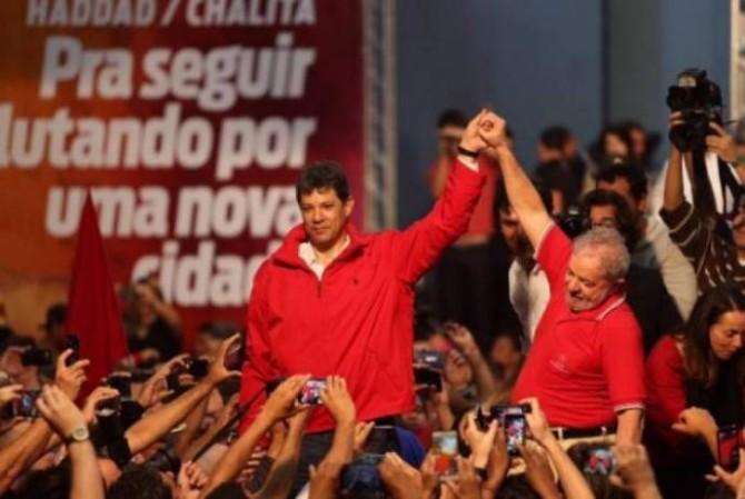 Haddad e Lula na convenção do PT de São Paulo (Foto: Instituto Lula/reprodução da Internet)