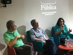 Tereza Cruvinel, ex-presidente da EBC, falando sobre a trajetória da comunicação pública no Brasil. Foto: Casa Pública.