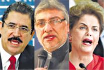 Mel Zelaya, Fernando Lugo e Dilma Rousseff, vítimas de golpes brandos na região (Foto: Página/12)