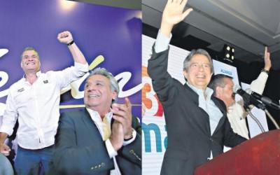Lenín Moreno (atrás Rafael Correa) e Guillermo Lasso: conclusão do escrutínio vai dizer se haverá segundo turno (Foto: AFP/Página/12)