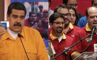 Presidente Nicolás Maduro e Julio Borges (da oposição) festejam, cada um por seu lado, o êxito da simulação da votação da Constituinte e do plebiscito informal tocado pelos opositores, eventos realizados no domingo, dia 16 (Foto: Nodal)